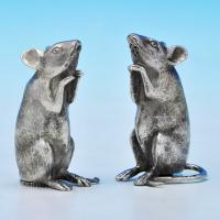 B1230:  Sterling Silver Mice Salt And Pepper Pots - The London Assay Office Hallmarked In 2012 London - Elizabeth II - Image 1
