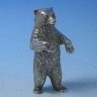 d9403: Sterling Silver Bear - Hallmarked In 1976 London - Elizabeth II  - image 2