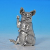 j7718: Sterling Silver Pig - Richard Comyns Hallmarked In 1975 London - Elizabeth II  - image 1