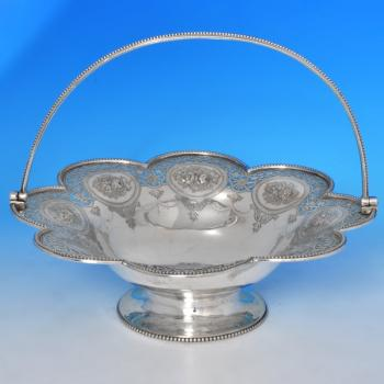 B0431: Antique Sterling Silver Basket - Barnard Brothers Hallmarked In 1874 London - Victorian - Image 1
