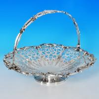 B1371: Antique Sterling Silver Basket - John & Thomas Cutmore Hallmarked In 1853 London - Victorian - Image 1