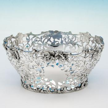 B5943: Antique Sterling Silver Basket - Nathan & Hayes Hallmarked In 1901 Chester - Victorian - Image 1