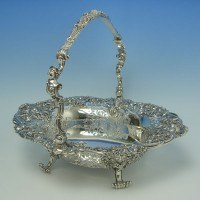 d5043: Antique Sterling Silver Basket - Garrards & Co. Hallmarked In 1909 London - Edwardian - image 1