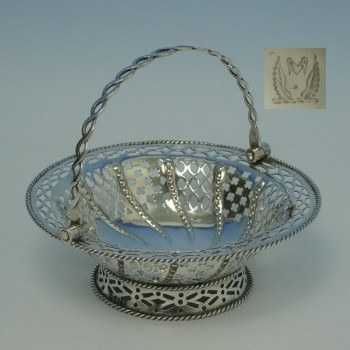 e8040: Antique Sterling Silver Baskets - Samuel Herbert & Co Hallmarked In 1764 London - George III Georgian - image 1