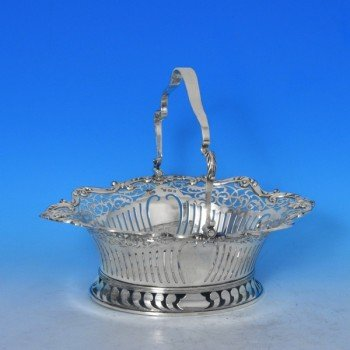 j7989: Antique Sterling Silver Basket - Elkington & Co. Hallmarked In 1903 Birmingham - Edwardian - image 1