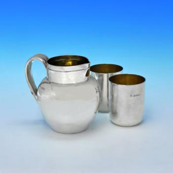 B2703: Antique Sterling Silver Water Jug And Pair Of Beakers - Angel & Savoury Hallmarked In 1889 London - Victorian - Image 1