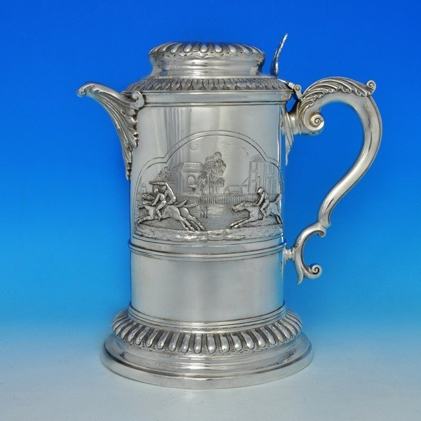 j5559: Antique Sterling Silver Beer Jug - J. N Mappin Hallmarked In 1890 London - Victorian - image 1