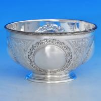 B1475: Antique Sterling Silver Bowl - Martin Hall & Co. Hallmarked In 1872 Sheffield - Victorian - Image 1