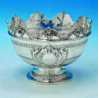 B1653: Antique Sterling Silver Bowl - George Fox Hallmarked In 1896 London - Victorian - Image 1