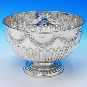 B2144: Antique Sterling Silver Bowl - William Hutton & Sons Hallmarked In 1900 Sheffield - Victorian - Image 1