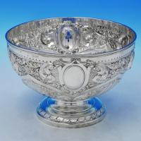 B2413: Antique Sterling Silver Bowl - Jackson & Fullerton Hallmarked In 1898 London - Victorian - Image 1