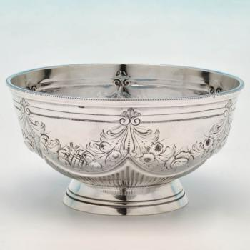 B4594: Antique Sterling Silver Bowl - Edward Hutton Hallmarked In 1885 London - Victorian - Image 1