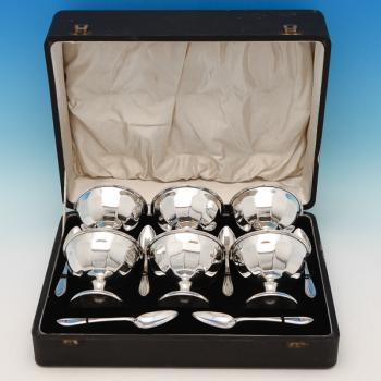 B6788p:  Sterling Silver Dessert Set - E Viner Hallmarked In 1937 Sheffield - George VI - Image 1