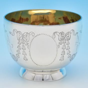 B7949: Antique Sterling Silver Bowl - Reid & Sons Hallmarked In 1887 London - Victorian - Image 1
