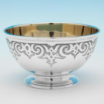 B9838: Antique Sterling Silver Bowl - Barnard Brothers Hallmarked In 1853 London - Victorian - Image 1