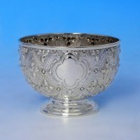 j3736: Antique Sterling Silver Bowl - Hawksworth Eyres & Co Hallmarked In 1891 Sheffield - Victorian - image 1