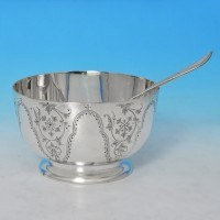 j8635: Antique Sterling Silver Bowl And Matching Spoon - Barnards Hallmarked In 1874 London - Victorian - image 1