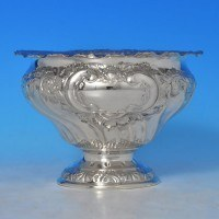 j8770: Antique Sterling Silver Bowl - Henry Atkins Hallmarked In 1902 Sheffield - Edwardian - image 1
