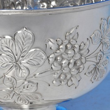 j9051: Antique Sterling Silver Bowl - William & Angus Fraser Hallmarked In 1897 London - Victorian - image 3