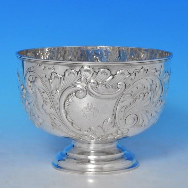 j9051: Antique Sterling Silver Bowl - William & Angus Fraser Hallmarked In 1897 London - Victorian - image 1