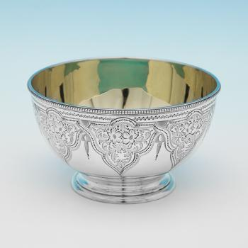 L0428: Antique Sterling Silver Bowl - Martin & Hall Hallmarked In 1873 Sheffield - Victorian - Image 1