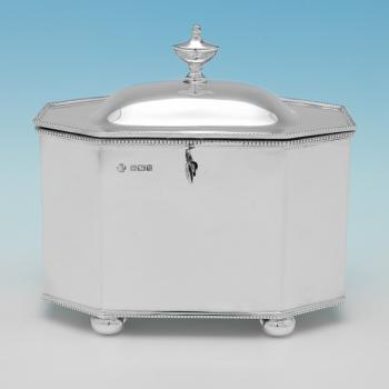 B9214: Antique Sterling Silver Tea Caddy - William Hutton Hallmarked In 1910 Sheffield - Edwardian - Image 1
