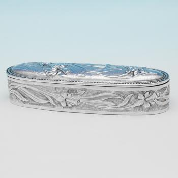 L0497p: Antique Sterling Silver Dressing Table Box - J W Caldicott Hallmarked In 1910 Birmingham - Edwardian - Image 1