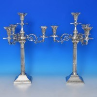 b0581: Antique Sterling Silver Pair Of Candelabra - C. C. Pilling Hallmarked In 1901 London - Edwardian - image 1