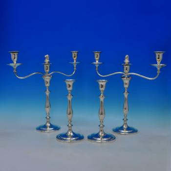B1164: Antique Sterling Silver Candelabra And Candlestick Suite - James Gregory & John Staniforth Hallmarked In 1795 Sheffield -