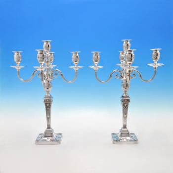 B3952: Antique Sterling Silver Pair Of Candelabra - Hawksworth Eyres & Co Hallmarked In 1901 Sheffield - Victorian - Image 1