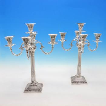 B4583: Antique Sterling Silver Pair Of 5 Light Candelabra - Mappin & Webb Hallmarked In 1907 Sheffield - Edwardian - Image 1