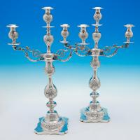 B5526: Antique Sterling Silver Pair Of Candelabra - Jacob Rosenzweig Hallmarked In 1914 London - George V - Image 1