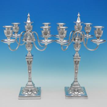 B9732: Antique Sterling Silver Candelabra - Elkington & Co. Hallmarked In 1890 London - Victorian - Image 1