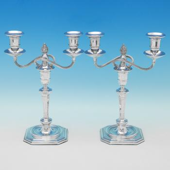 B9943: Antique Sterling Silver Candelabra - R&W Sorley Hallmarked In 1907 Sheffield - Edwardian - Image 1