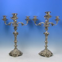 e8389: Antique Sterling Silver Rococo Candelabra - Robert Hennell II Hallmarked In 1870 London - Victorian - image 1