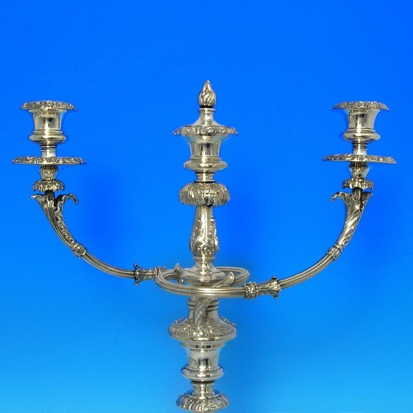 e8867: Antique Old Sheffield Plate Pair Of Candelabra - Circa 1825 - George IV Georgian - image 3