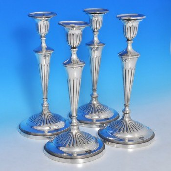 b0268: Antique Sterling Silver Set Of Four Candlesticks - J. Greene & Co. Hallmarked In 1796 Sheffield - George III Georgian - i