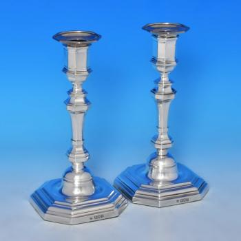 B0366: Antique Sterling Silver Pair Of Candlesticks - T. Bradbury & Sons Hallmarked In 1905 London - Edwardian - Image 1