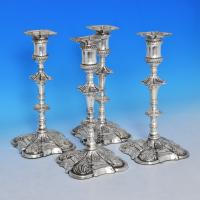 B0389: Antique Old Sheffield Plate Set Of Four Candlesticks - Unknown Made Circa 1770 Unknown - Georgian - Image 1