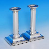 B0684: Antique Sterling Silver Pair Of Candlesticks - Thomas A Scott Hallmarked In 1904 Sheffield - Edwardian - Image 1