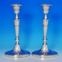 B0906: Antique Sterling Silver Pair Of Candlesticks - William Hutton Hallmarked In 1898 London - Victorian - Image 1