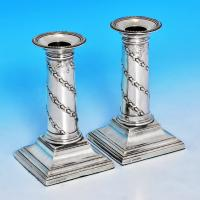 B1286: Antique Sterling Silver Pair Of Candlesticks - J. K. Bembridge Hallmarked In 1885 Sheffield - Victorian - Image 1