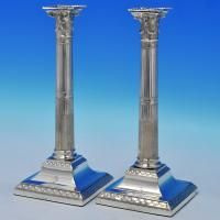 B1360: Antique Sterling Silver Pair Of Candlesticks - John Winter & Co. Hallmarked In 1788 Sheffield - Georgian - Image 1