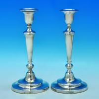 B1433: Antique Sterling Silver Candlesticks - John Roberts Hallmarked In 1810 Sheffield - Georgian - Image 1