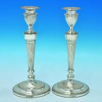 B1626: Antique Sterling Silver Candlesticks - Joseph Kebberling Bembridge Hallmarked In 1891 Sheffield - Victorian - Image 1