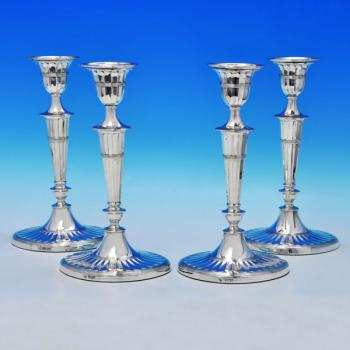 B1907: Antique Sterling Silver Set Of Four Candlesticks - Hawksworth Eyres & Co Hallmarked In 1898 Sheffield - Victorian - Image