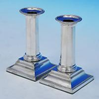 B2100: Antique Sterling Silver Pair Of Candlesticks - Unknown Hallmarked In 1894 Sheffield - Victorian - Image 1