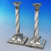 B2122: Antique Sterling Silver Pair Of Candlesticks - John Hoyland, John Trevor Young, Thomas Smith & Elizabeth Middle Hallmarke