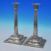 B2124: Antique Sterling Silver Candlesticks - Michael Walsh Made Circa 1780 Dublin - Georgian - Image 1