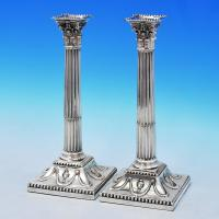 B2139: Antique Sterling Silver Pair Of Candlesticks - John Winter & Co. Hallmarked In 1775 Sheffield - Georgian - Image 1